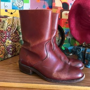 VNTG 70s Frye Rust Ankle Boots AMAZING M-9D W-11